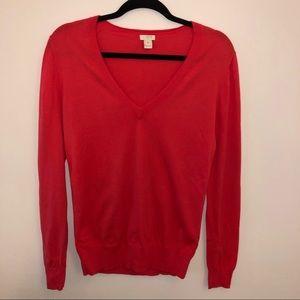J. Crew Red-Orange Cotton Sweater Medium